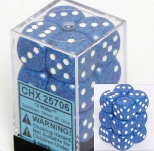 12 Water Speckled 16mm D6 Dice Block