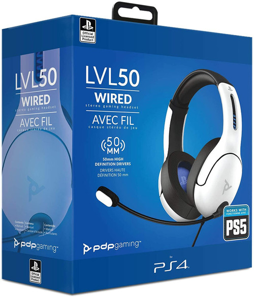 PDP Headset LVL50 Wired stereo For PS4 and PS5 (White)