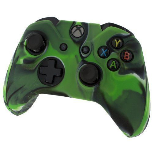 Pro Soft Silicone Protective Cover with Ribbed Handle Grip Camo Green - Xbox One