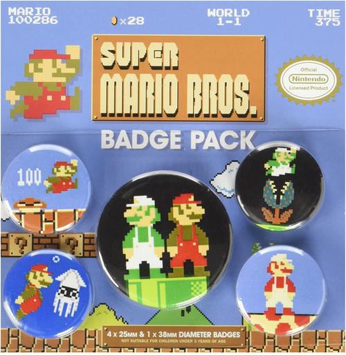 Super Mario Bros Badge Pack - Gaming Merchandise