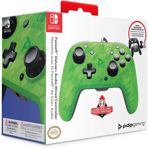 PDP Face-off Deluxe Controller + Audio For Nintendo Switch - Camo Green