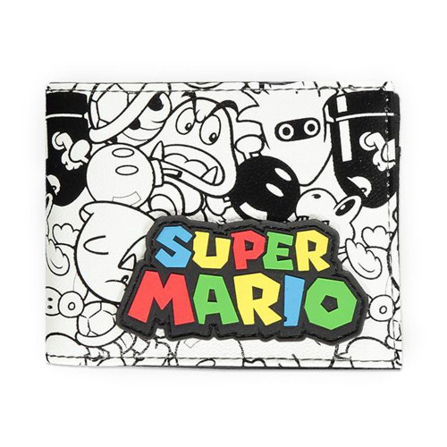Super Mario Bros. Logo with All-over Villain Characters Print Bi-fold Wallet