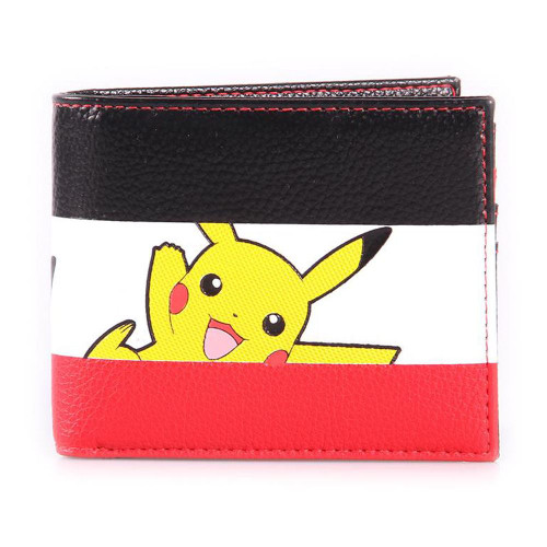 Pokemon Pikachu Striped Tri-colour All-Over Print Bi-fold Wallet Male