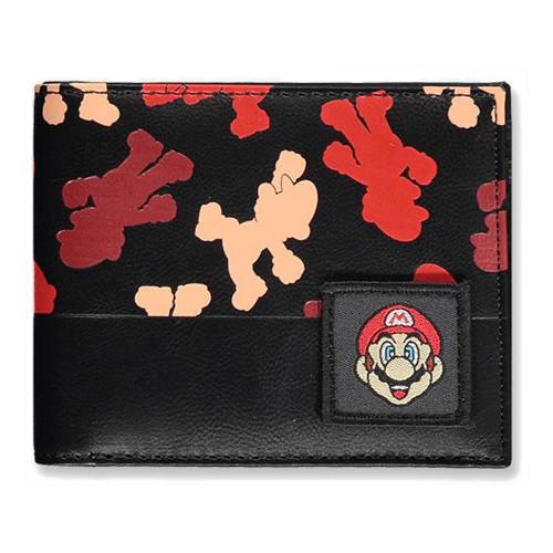 Super Mario Bros Mario Silhouette All-Over Print Bi-fold Wallet Male - Black