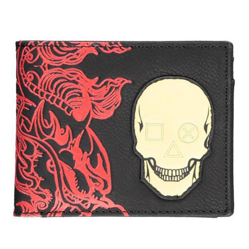 Sony Playstation Skull Badge Bi-fold Wallet Male Black (MW233515SNY)