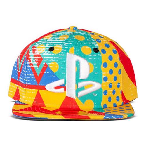 Sony Playstation Logo with All-Over Art Print Snapback Baseball Cap SB074823SNY