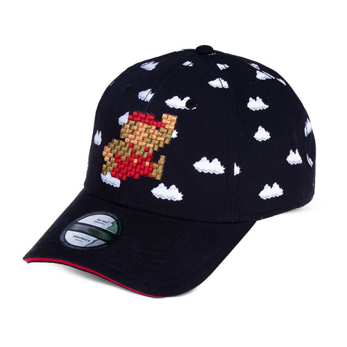 Nintendo Super Mario 8-Bit Clouds Snapback Baseball Cap Black/Red (BA761746NTN)