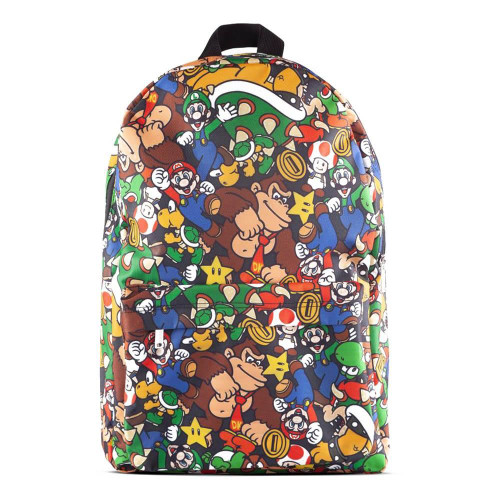 Nintendo Super Mario Bros. Characters All-Over Print Backpack Multi-colour