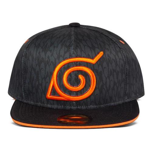 Naruto Shippuden Logo Snapback Baseball Cap - Black/Orange (SB044326NRS)