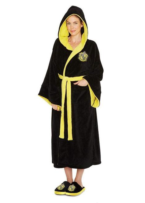 Harry Potter Hufflepuff Womens Bathrobe Polyester Black