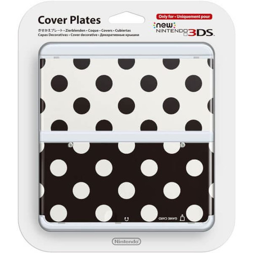 Official Cover Plate for New Nintendo 3DS - Black and White Polkadots