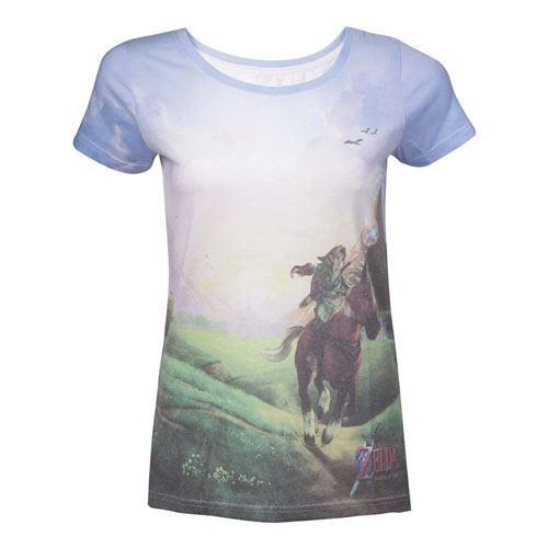 NINTENDO Legend of Zelda Womens Ocarina of Time Zeldas Journey Sublimation T-Shirt Large Multi-Colour (TS210504NTN-L)