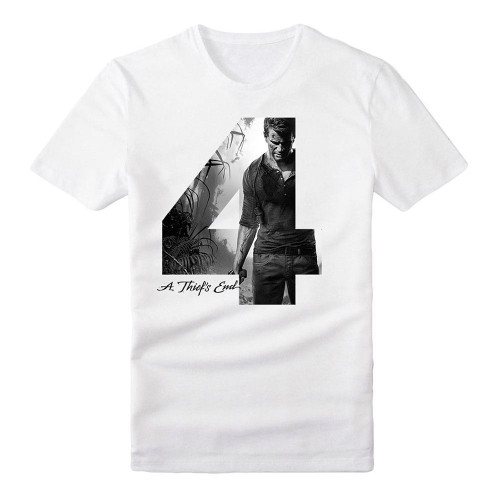 Uncharted 4 Adult Male Silhouette '4' A Thief's End T-Shirt Extra Extra Large White (TS282009UNC-2XL)