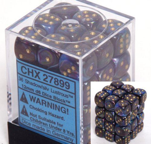 12mm d6 Dice 36 Block Lustrous Shadow with Gold