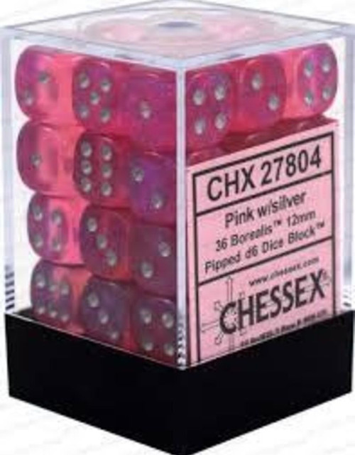 12mm d6 Dice 36 Block Borealis Pink with Silver
