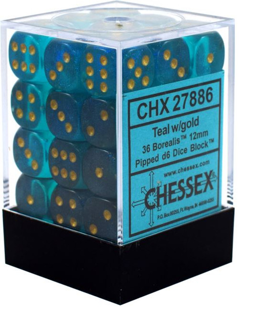 12mm d6 Dice 36 Block Borealis 2 Teal with Gold