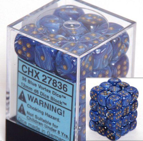 12mm d6 Dice 36 Block Vortex Blue with Gold