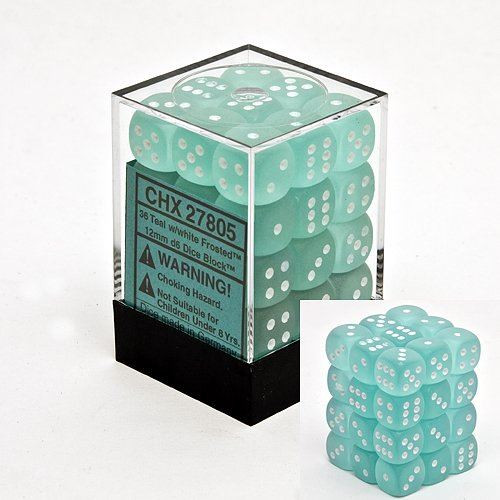 12mm d6 Dice 36 Block Frosted Teal with White