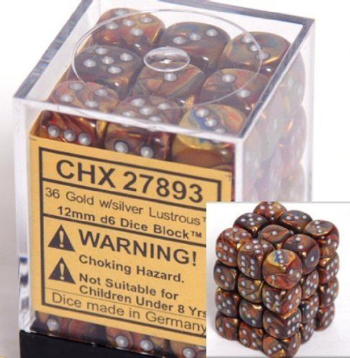 12mm d6 Dice 36 Block Lustrous Gold with Silver