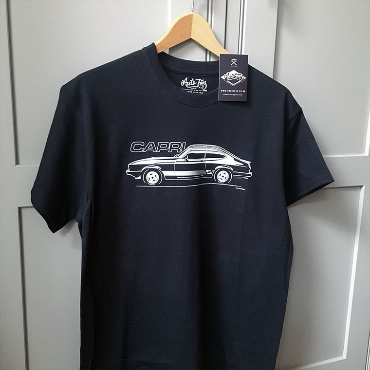 AUTOTEES DESIGN T-SHIRT FOR FORD CAPRI 2.0 LITRE SPORT CAR ENTHUSIASTS
