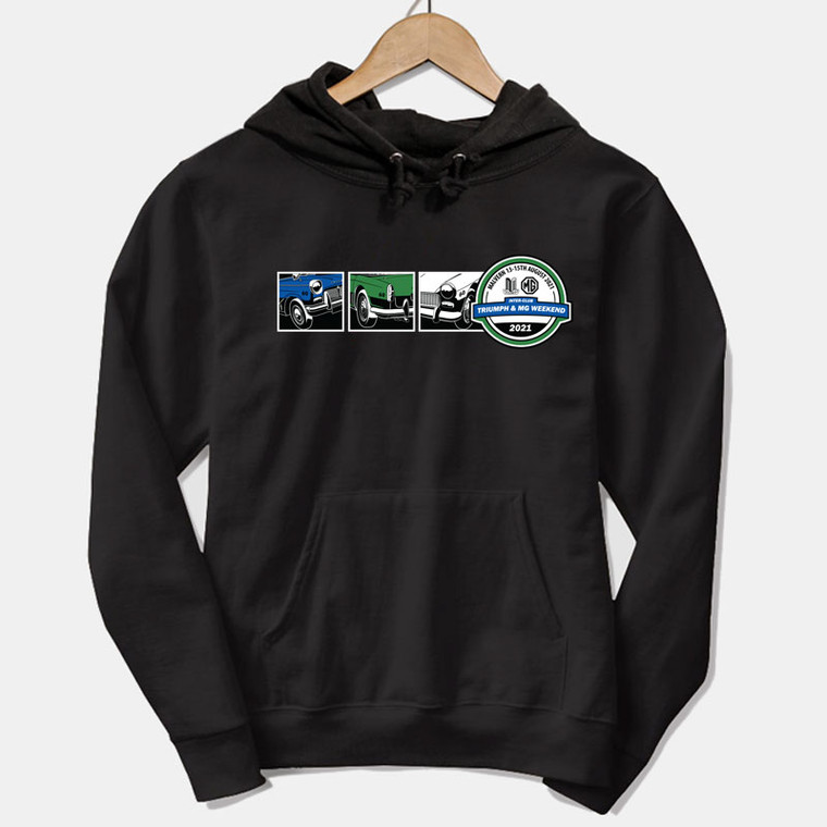 ORDER NOW! - OFFICIAL TRIUMPH & MG WEEKEND 2021 EVENT PULLOVER HOODIE - 3 CAR TRIUMPH & MG DESIGN