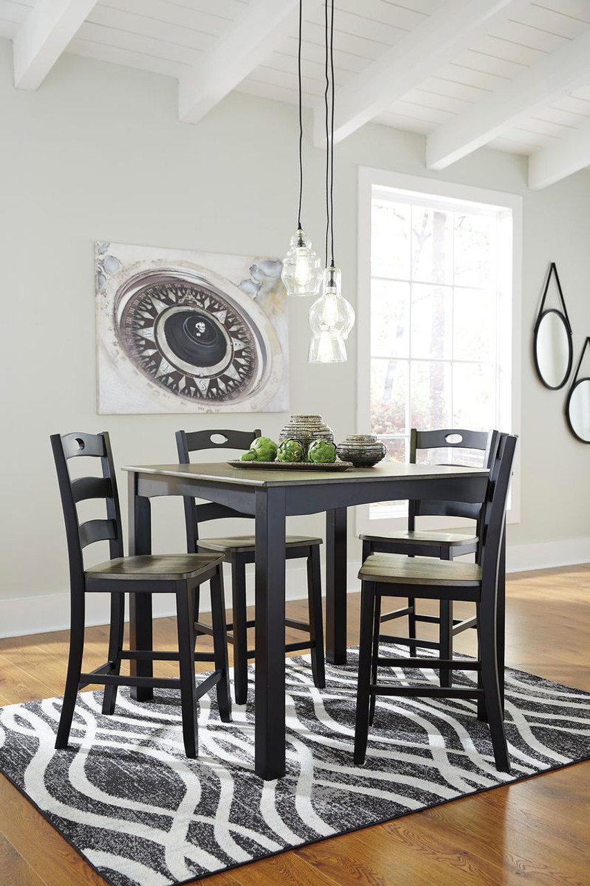 Prime Ashley Froshburg Grayish Brown Black Square Counter Table Set 5 Cn Gmtry Best Dining Table And Chair Ideas Images Gmtryco