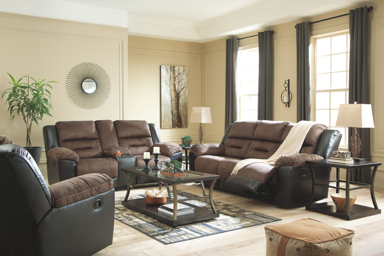 Incredible Ashley Earhart Chestnut Reclining Sofa Couch Double Reclining Loveseat With Console Rocker Recliner Bralicious Painted Fabric Chair Ideas Braliciousco