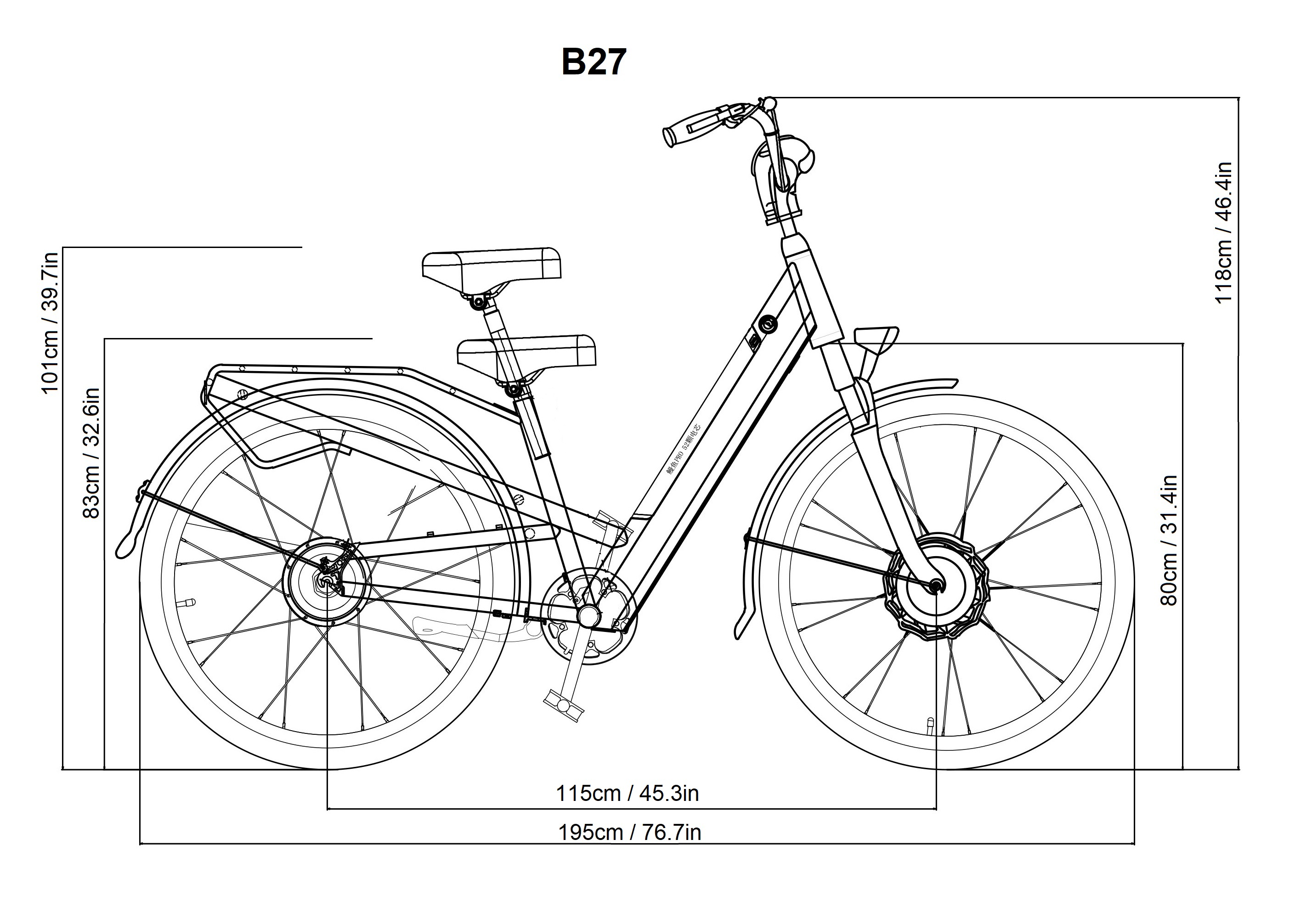 Bagi Bike B27 Cruiser Electric Bicycle Dimensions