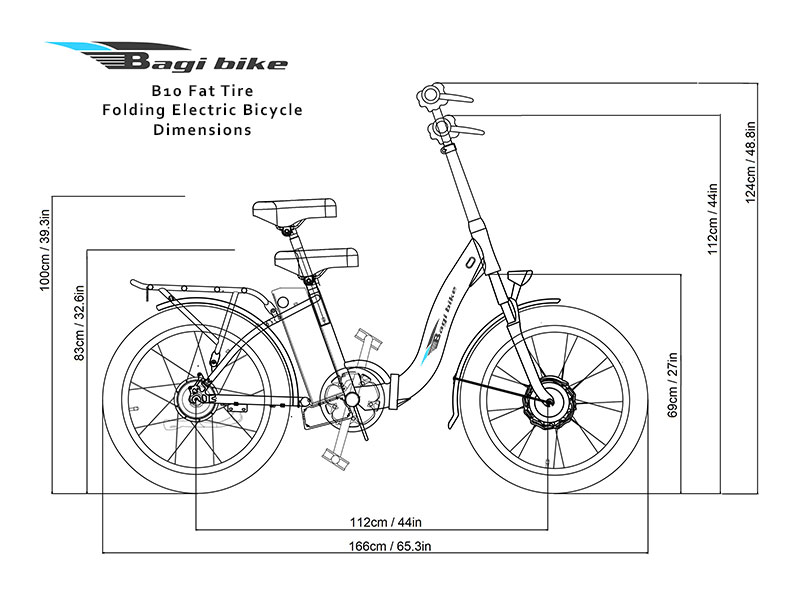 Bagi Bike B10 Fat Tire Folding Electric Bicycle Dimensions