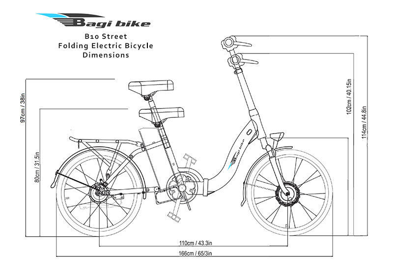 Bagi Bike B10 Street Folding Electric Bicycle Dimensions