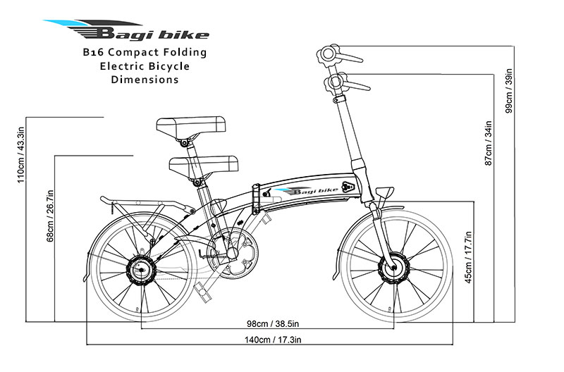 Bagi Bike B16 Compact Folding Electric Bicycle Dimensions