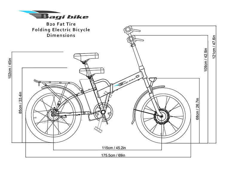 Bagi Bike B20 Fat Tire Folding Electric Bicycle Dimensions