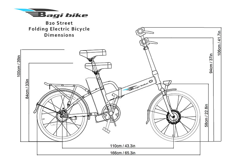 Bagi Bike B20 Street Folding Electric Bicycle Dimensions