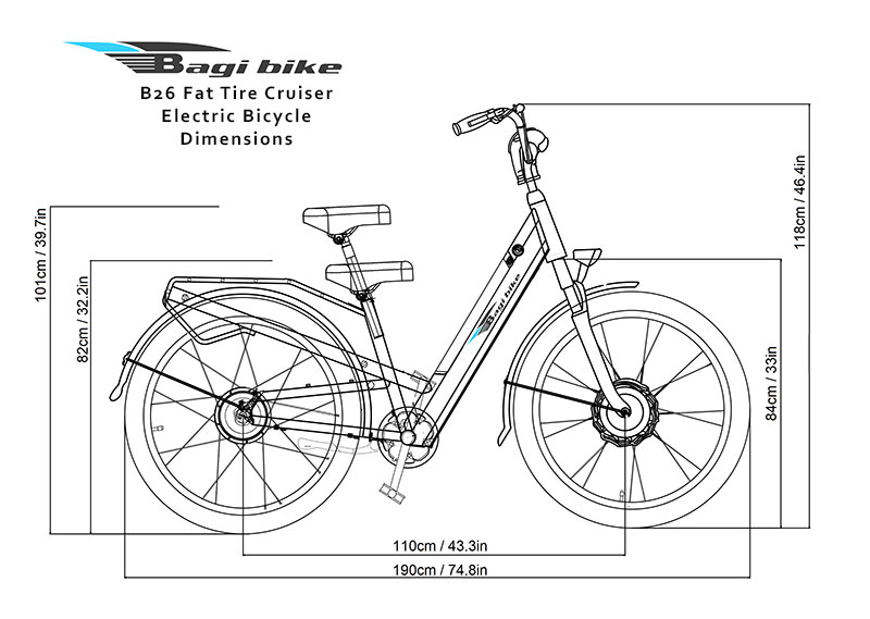 Bagi Bike B26 Fat Tire Cruiser Electric Bike Dimensions