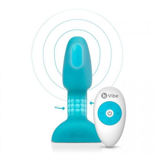 b-Vibe Petite Rimming Vibrating Butt Plug with Remote-Teal