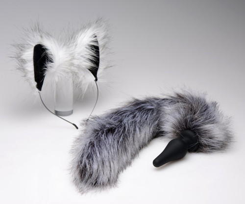 Tailz Grey Wolf Tail Anal Plug and Ears Set by XR Brands