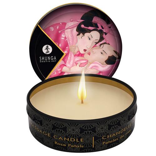 Mini Massage Candle by Shunga Erotic Art-Aphrodisia Rose Petals