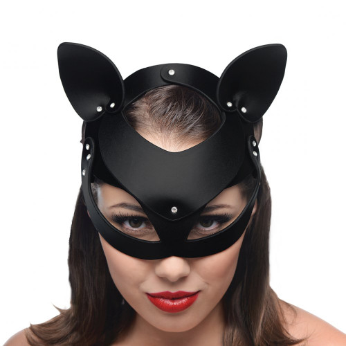 Bad Kitten Black Leather Cat Mask by XR Brands