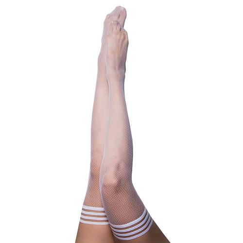 Kix'ies Sammy White Fishnet Thigh High Stockings
