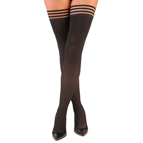 Kix'ies Dana Lynn Opaque Black Ribbed Thigh High Stockings