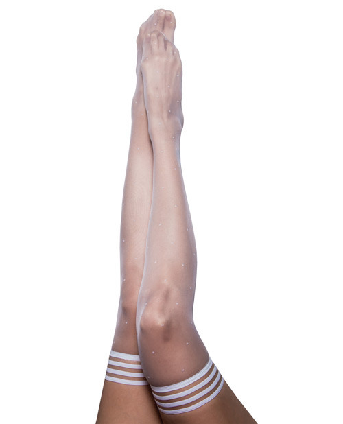 Kix'ies Brooke LeAnne White Polka Dot Thigh High Stockings