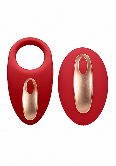 Elegance Poise Vibrating Cock Ring and Remote by Shots America-Red