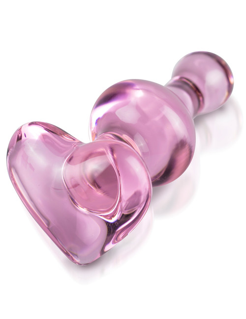 Heart Shaped Glass Anal Plug Icicles No 75 by Pipedream-Pink