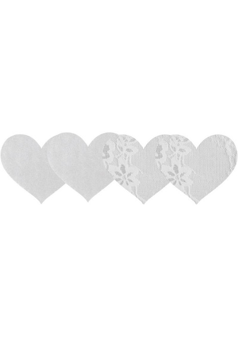 Peekaboo White Luminous Hearts Pasties