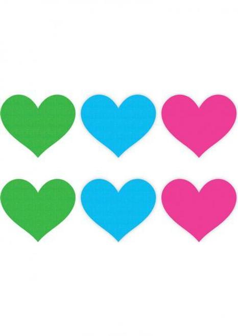 Peekaboo Neon Color Hearts Pasties 3 Pack