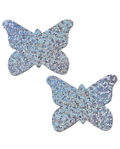 Pastease Silver Glitter Butterfly Nipple Pasties