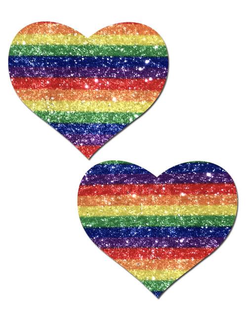 Pastease Glitter Heart Nipple Pasties-Rainbow