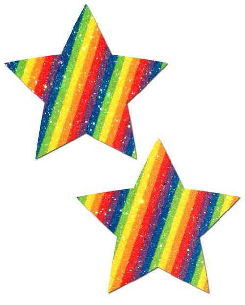 Pastease Glitter Stars Nipple Pasties-Rainbow