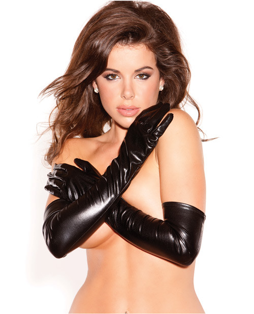 Long Black Wet Look Kitten Seduction Gloves by Allure Lingerie