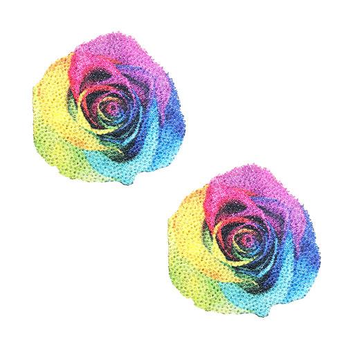 Rainbow Pride Rose Glitter Nipztix Pasties